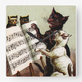 19th C. Singing Cats Square Wall Clock