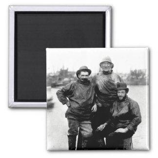 19th C. Smiling Fishermen 2 Inch Square Magnet