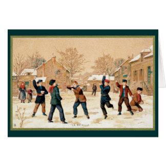 19th C. Snowball Fight Card