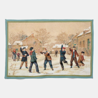 19th C. Snowball Fight Hand Towels