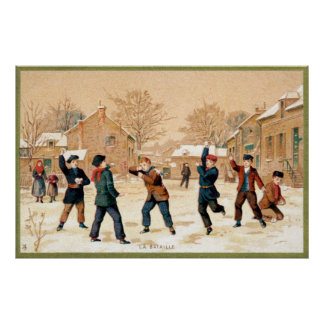 19th C. Snowball Fight Poster