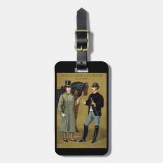 19th C. Vintage Men's Gloves Luggage Tag