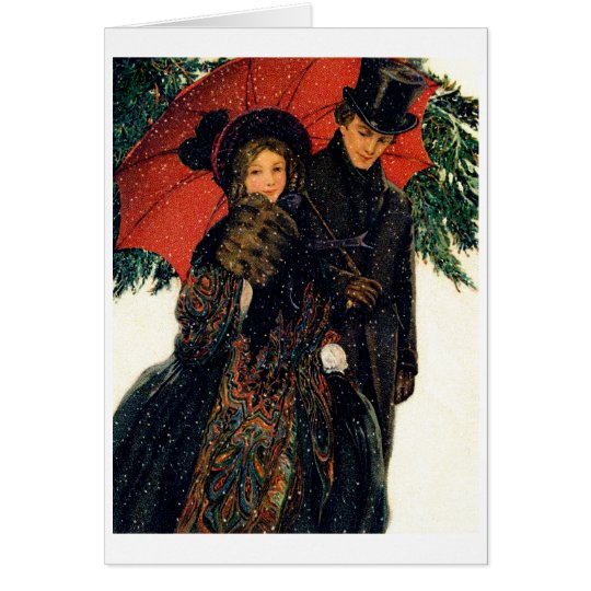 19th C. Young Couple in Winter Card