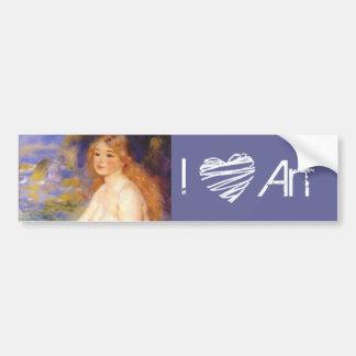 19th Century Blonde Bather Painting I Heart Art Car Bumper Sticker