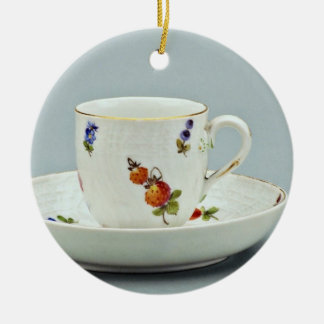 19th century coffee cup and saucer, Meissen, Germa Christmas Ornament