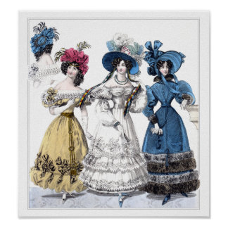 19th century fashion: February 1829 Poster