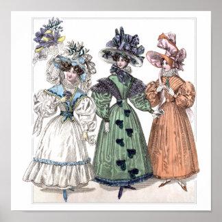 19th century fashion: walking dresses poster