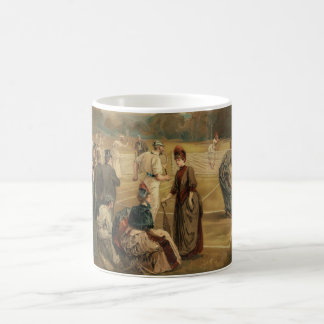 19th Century Game of Women's Lawn Tennis from 1887 Classic White Coffee Mug