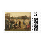 19th Century Game of Women's Lawn Tennis from 1887 Stamp
