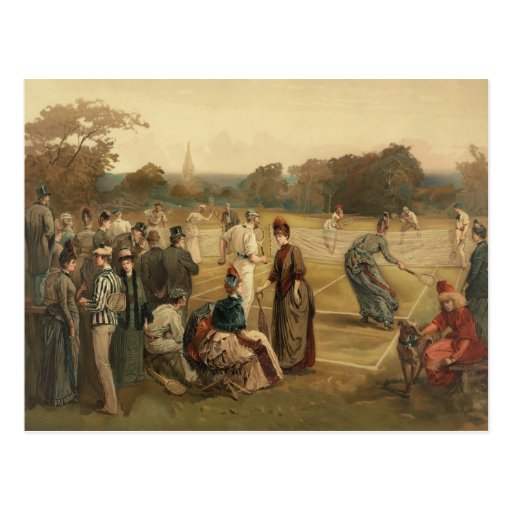 19th Century Game of Women's Lawn Tennis from 1887 Postcards
