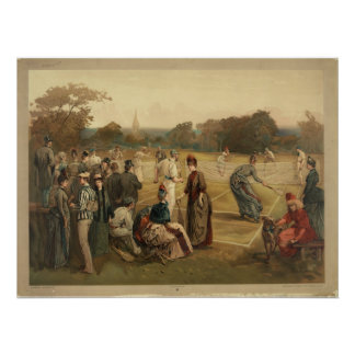 19th Century Game of Women's Lawn Tennis from 1887 Poster