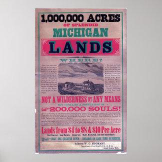 19th Century Grand Rapids Railroad  Broadside Print