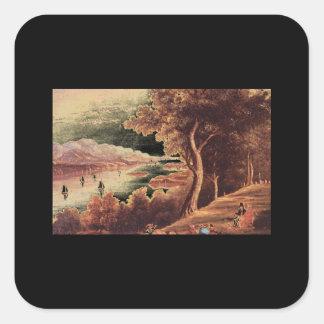19th Century Hudson River Scene_Art of America Square Sticker