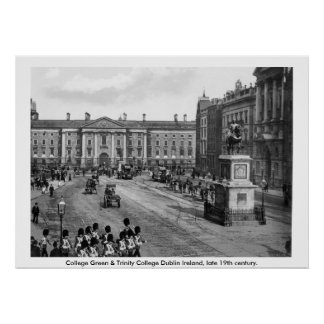 19th century Ireland, College Green Dublin Poster