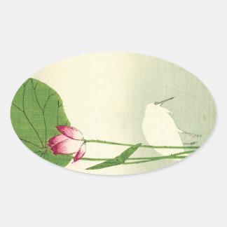 19th Century Japanese Bird Oval Sticker