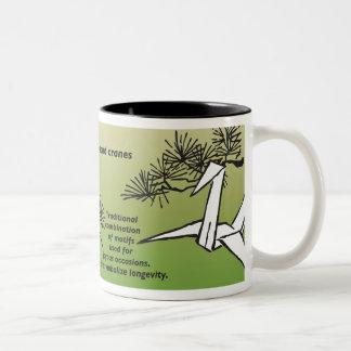 19th Century Japanese Design/Translation, cranes Two-Tone Coffee Mug