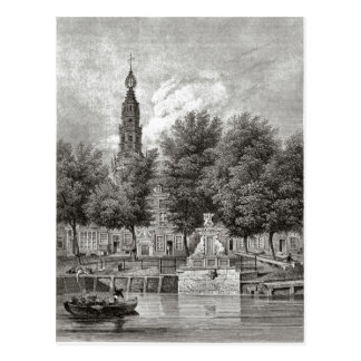 19th century Leiden, Church and river Postcard