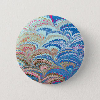 19th Century Marbled Paper 6 Motif Button