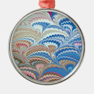 19th Century Marbled Paper 6 Motif Metal Ornament