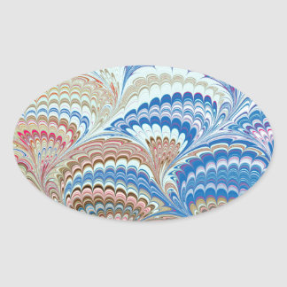 19th Century Marbled Paper 6 Motif Oval Sticker
