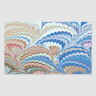 19th Century Marbled Paper 6 Motif Rectangular Stickers