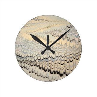 19th century marbled paper 7 Motif Round Clock