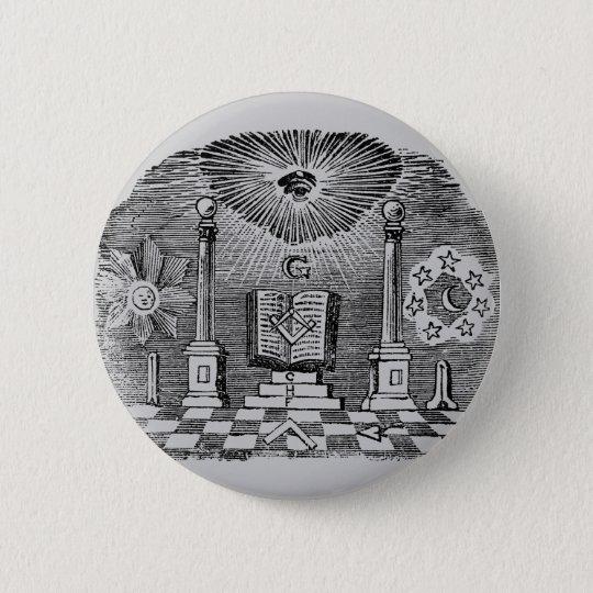 19th Century Masonic Blockcut engraving Button