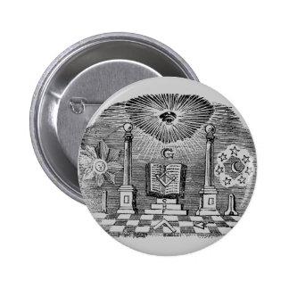 19th Century Masonic Blockcut engraving 2 Inch Round Button