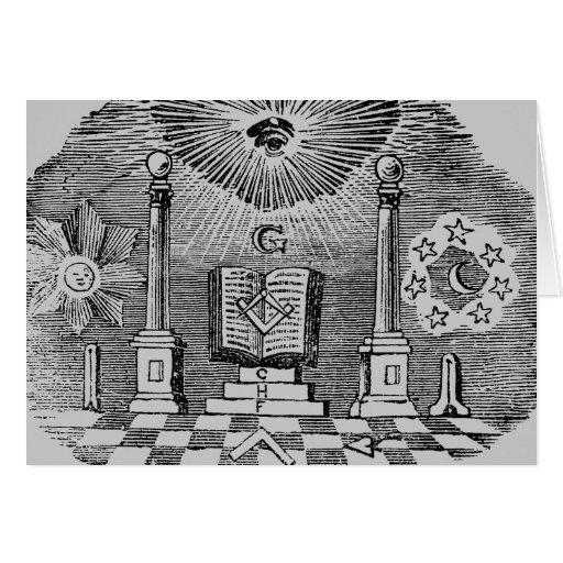 19th Century Masonic Blockcut engraving Card