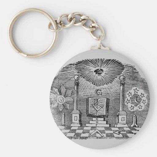 19th Century Masonic Blockcut engraving Basic Round Button Keychain