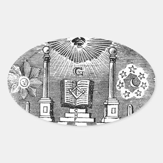 19th Century Masonic Blockcut engraving Oval Sticker
