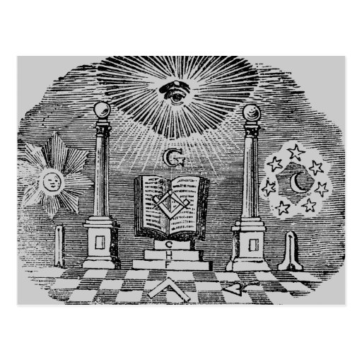 19th Century Masonic Blockcut engraving Postcard