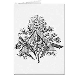19th Century Masonic G Kenning Blockcut engraving Greeting Card