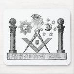 19th Century Masonic G Kenning Blockcut engraving Mousepad
