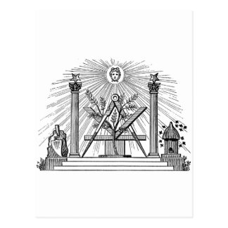 19th Century Masonic G Kenning Blockcut engraving Post Card