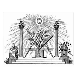 19th Century Masonic G Kenning Blockcut engraving Post Cards