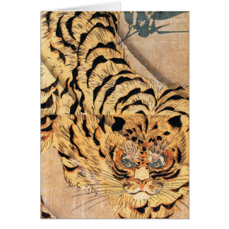 19th century painting of a tiger by Kuniyoshi Utag Greeting Card