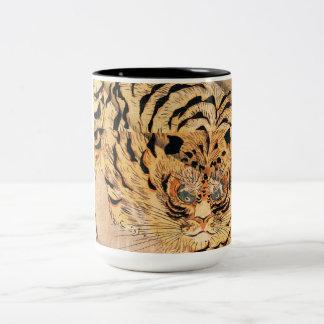 19th century painting of a tiger by Kuniyoshi Utag Two-Tone Coffee Mug