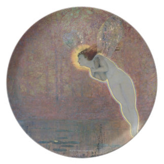 19th century painting of angel plate