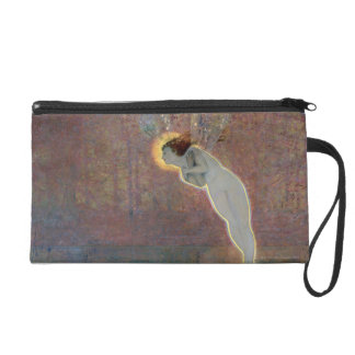 19th century painting of angel wristlet clutch