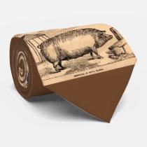 19th century pig print 'Breeder in Good Flesh' Neck Tie