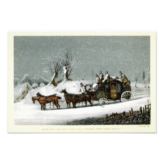 19th Century Victorian Stagecoach in the Snow Photo Print