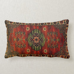 19th Century Vintage Carpet Design 237 Lumbar Pillow