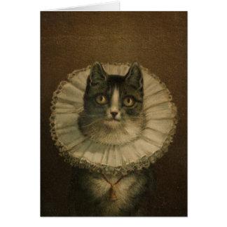 19th Century Vintage Cat Print Greeting Card