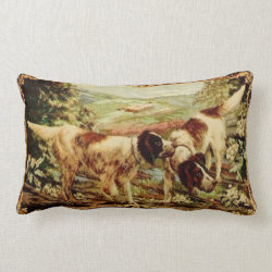 19th Century Vintage Dogs Pillow Throw