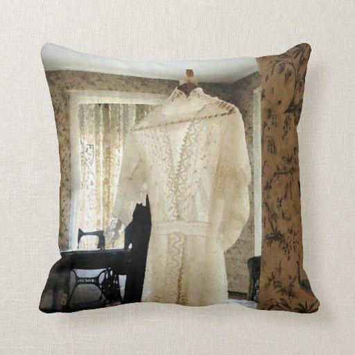 19th Century Wedding Dress Throw Pillow