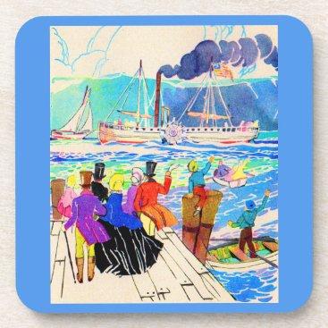 19th century yacht race drink coaster