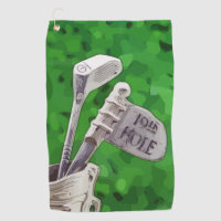 19th Hole Flag on green background Golf Towel
