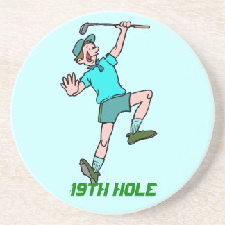 19th hole funny golfer guy blue green background drink coaster