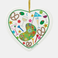 19th Hole Heart Ornament